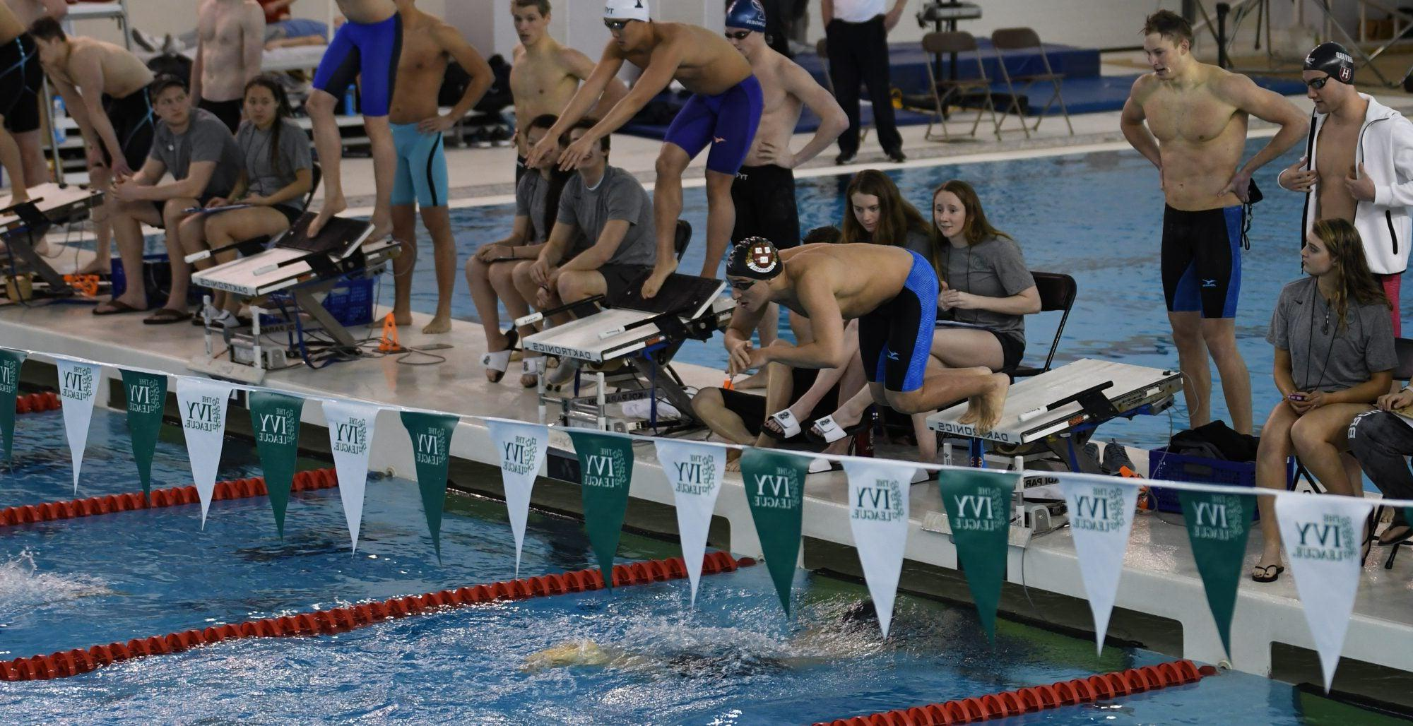 Harvard students poised to jump in a pool